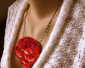 This Means Love - A Vintage Silk Red Rose Necklace