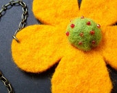 Hot...Like The Sun - A Felted Flower Pendant Necklace