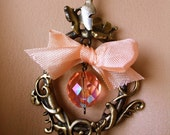 A Scrollwork Necklace With Vintage French Ribbon / Czech Glass Bead