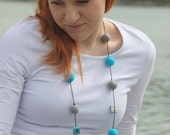 Felt necklace, Acrylic  wool, Grey and turquoise color with ceramic buttons , Ready to ship, SALE SALE