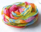 Handmade Fabric Flower Brooch Hair Clip - Rainbow colors , Last one,  Ready to ship, FREE SHIPPING
