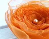 CLEARANCE - all must go Fabric flowers, Orange Flower Brooch, Fabric flower brooch, Fabric Brooch, Flower Hair Clip