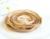 CLEARANCE - all must go,,Fabric Flowers, Toffee, Desert Sand, Peach Flower brooch hair clip, Fabric brooch, Fabric Flower, free shipping