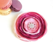 Flower Brooch, Fabric flower brooch, Fabric brooch with rhinestone button, Fuchsia, Pink color, free shipping