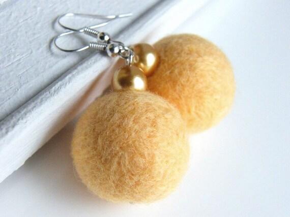 WINTER SALE Felt earrings Light yellow Honey merino wool felted beads Gold glass pearls Felt Jewelry