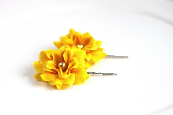 Flower Hair Clip, Hair Accessories, fabric flower bobby pin,  yellow color , free shipping, Ready to ship