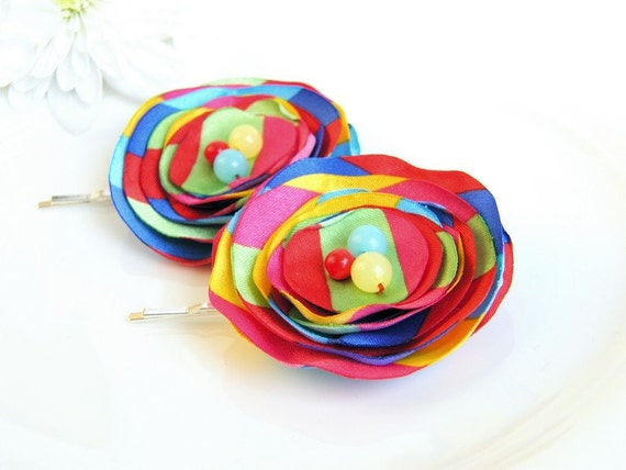 CLEARANCE - all must go Hair Accessories, Fabric flower bobby pin, Hair Flower, Rainbow, Colorful, free shipping, Ready to ship