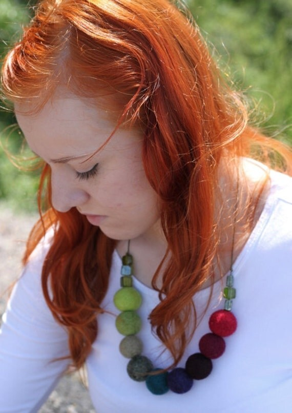 Colorful Felt Necklace Handmade Soft Felted Balls Hippie Folk Style Felt Jewelry Fall Fashion