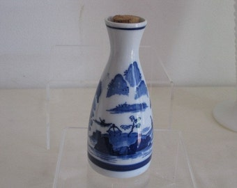 vintage Blue and White Chinese Bottle with Cork