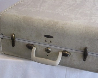 vintage 1950s Samsonite Luggage Case in Oatmeal Color