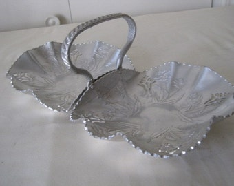 vintage Pierced and Rose Decorated Double Bowl Server or Storage in Aluminum