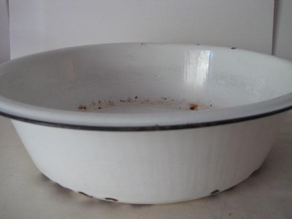 vintage White Enamelware Wash Bowl - extra large size