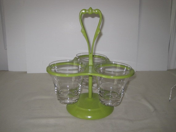 vintage Avocado Green Three Piece Condiment Server