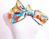 Blue yellow orange floral repurposed vintage no-tie scarf