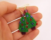 Christmas Tree Earrings Red, blue  fire-polished beads and pink Swarovski rondele