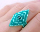 Ring  Beaded Aqua Turquoise Teal Green