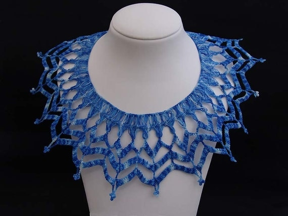 Crochet lacy necklace collar royal blue Her Majesty