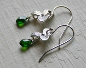 Chrome Diopside Gemstone and Orchid Sterling Silver Earrings