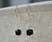 Black Spinel Cube Gemstone Sterling Silver Earrings