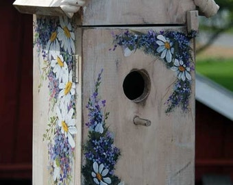 Hand Painted Bird House with shelf for sale