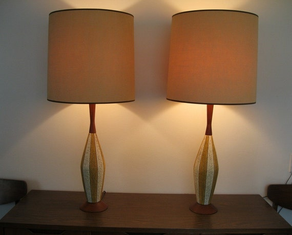 Pair mid century modern eames era table lamps for Mid modern period