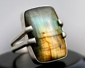 Labradorite and Sterling Silver Double-Banded Ring