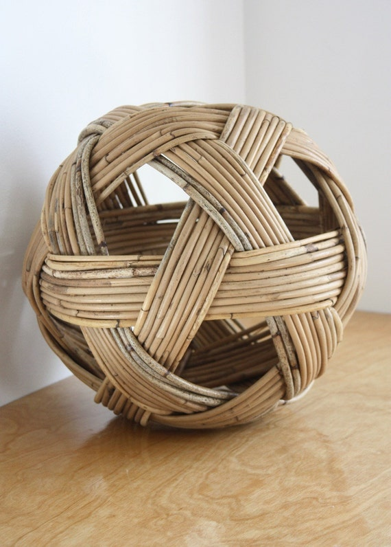 Large Vintage Woven Wicker Ball