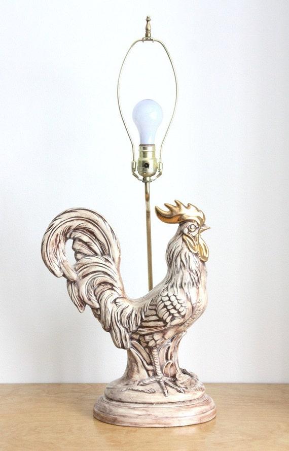 Large Vintage Ceramic Rooster Table Lamp