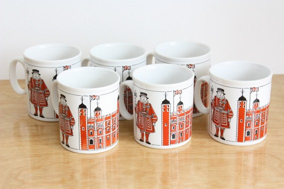 Vintage Set of 6 Staffordshire Beefeater London Mugs