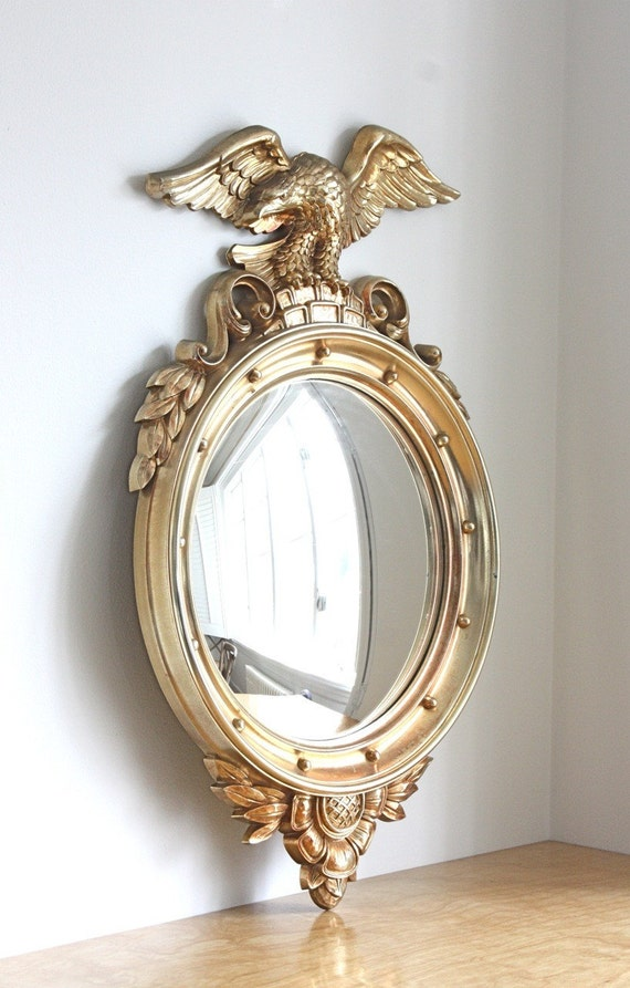 Large Vintage Gold Eagle Convex Mirror By Syroco