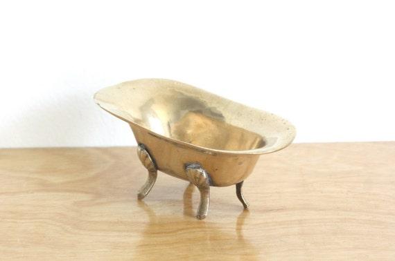 Vintage Brass Mini Clawfoot Tub Soap Dish