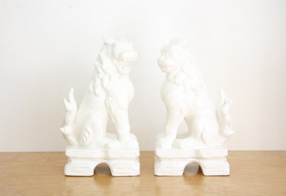 Large Vintage Pair of White Porcelain Foo Dogs