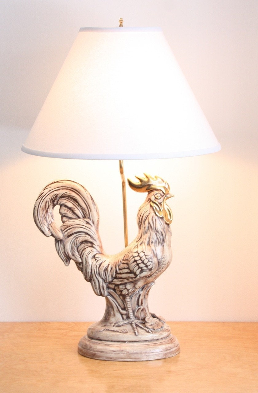 Large Vintage Ceramic Rooster Table Lamp By Estateeclectic