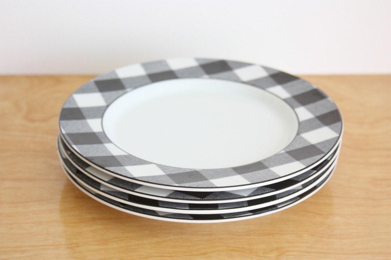 Set Of 4 Vintage Porcelain Gingham Check Plates
