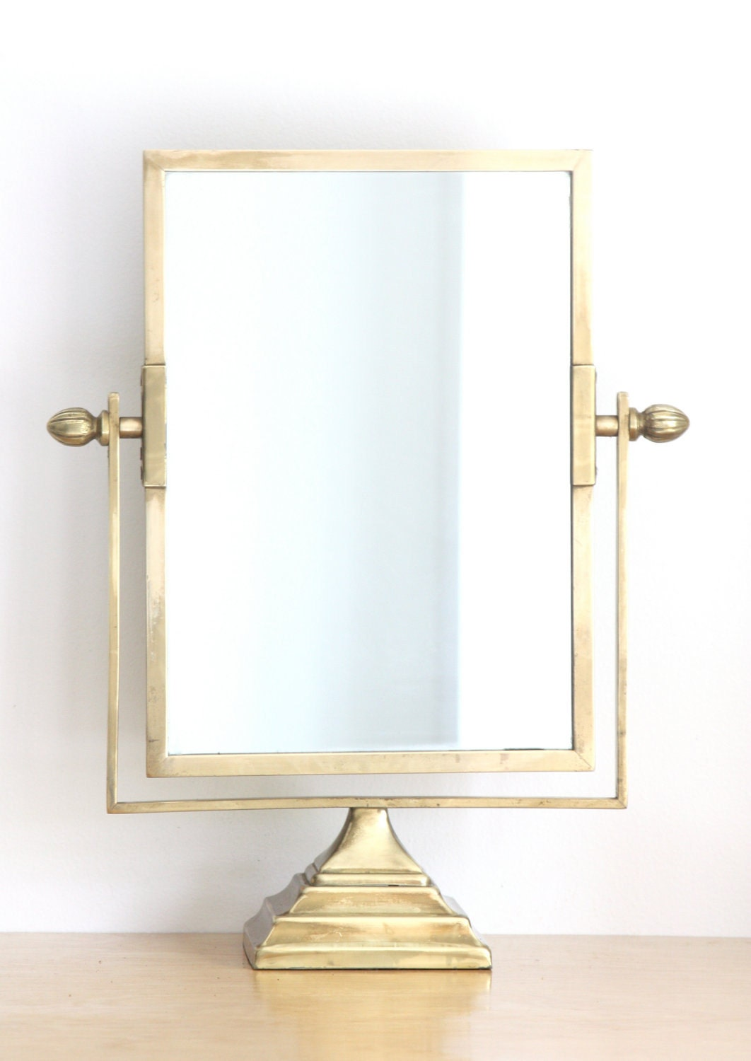 large antique brass pedestal vanity mirror