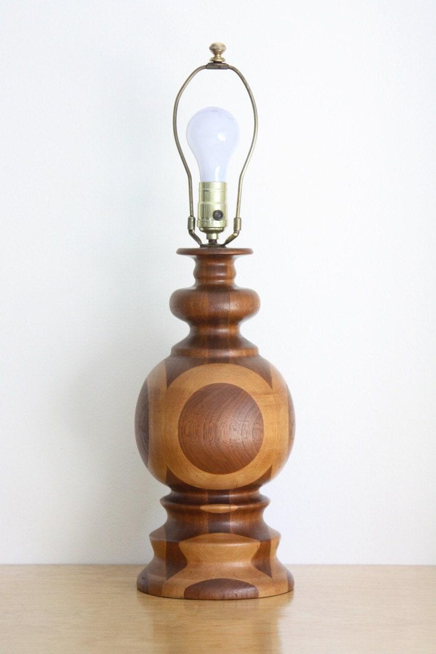 mid century modern turned wood table lamp. Black Bedroom Furniture Sets. Home Design Ideas