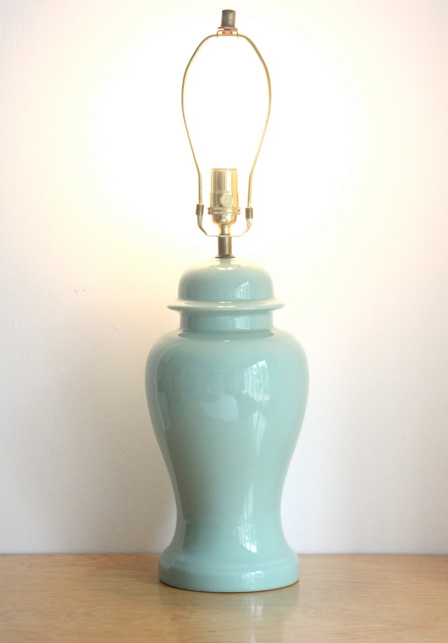 Vintage Seafoam Green Ceramic Ginger Jar Table By Estateeclectic