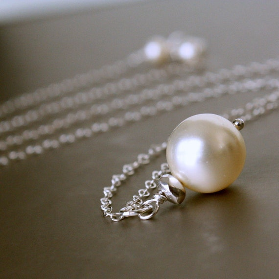 Single PEARL Necklace - Sterling Silver, Cream Swarovski  Pearl Necklace, Bridal SET.