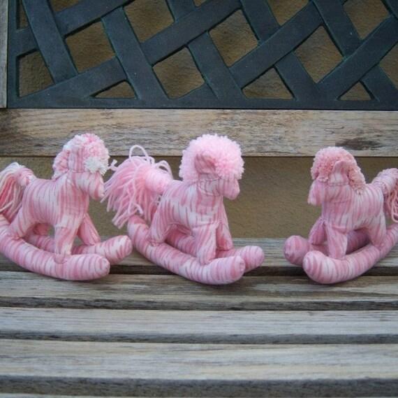 Stuffed Rocking Horse Toy pink zebra