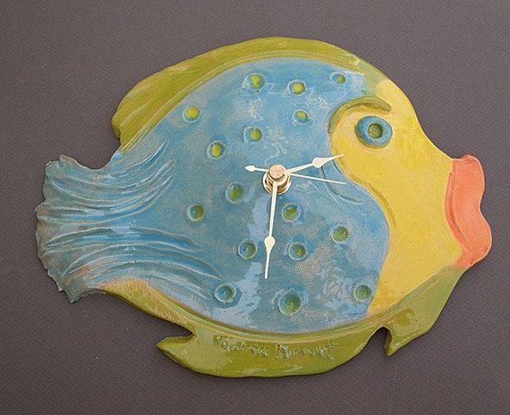 SALE Hand built pottery, fish clock one of a kind