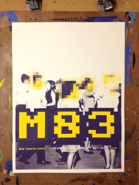 M83 screen-printed concert poster