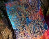 Dancing Dandelion fashion pin by Gloria Kirk Hanna  orange silk, and grey, turquoise silk roving