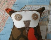 This is Oxley - stuffed owl, plush owl, owl toy
