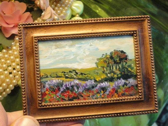 Landscape mini painting Lavender and Poppies  original