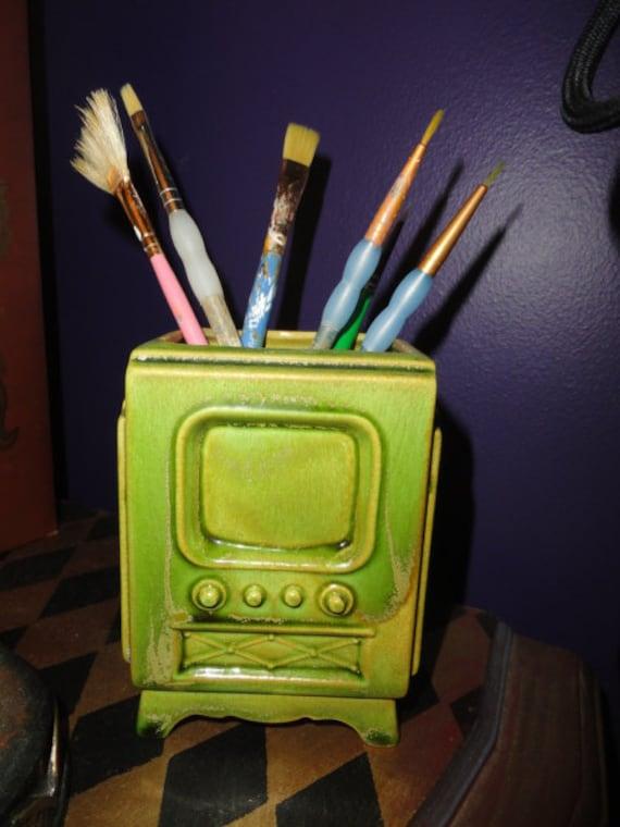 Vintage TV Planter  Pencil caddy holder vintage decoration