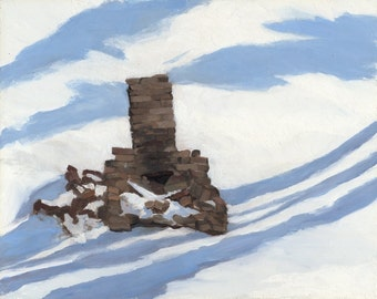 Snowbound, original framed oil winter landscape, 8 x10