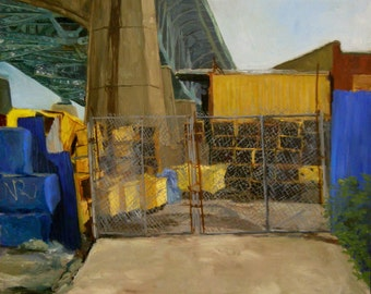 "Industrial brooklyn cityscape, ""The Gates"", original framed oil on canvas, 22x24"