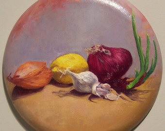 "Still life painting oil on round canvas, 16"" diameter ready to hang, ""Squadron""'"