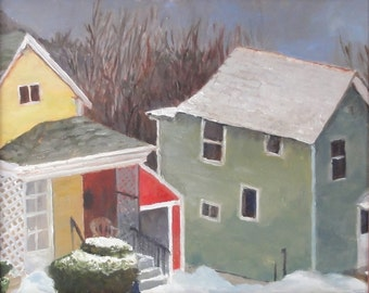 "New England cottage landscape original winter oil painting, ""Yellow, Red, and Green"" 8x10"