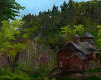 "New England farm landscape, ""Sheep Hill"", original framed oil on canvas, 9 x 12"
